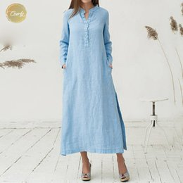 long sleeve maxi dresses Australia - Elegant Long Dress Women Long Sleeve Maxi Plus Size Cotton Buttons Pockets Casual Vintage Spring Summer Sundress