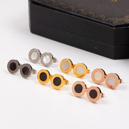 black titanium stud earrings Australia - Ear stud Titanium steel Black White Sea shell Earring Rose Gold Silver female women with original box set Free shipping
