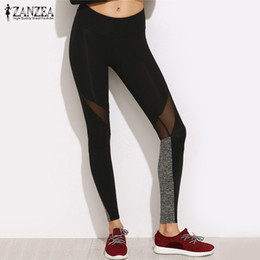 Block Mesh Australia - 2017 ZANZEA Summer Women Casual Leggings Fitness Plain Elastic Waist Color Block Mesh Insert Pants Leggings Plus Size Trouses