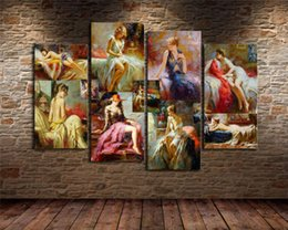 Discount pino paintings - Pino Daeni Retro Sexy Woman,4 Pieces Home Decor HD Printed Modern Art Painting on Canvas (Unframed Framed)