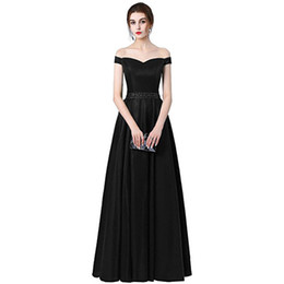 fuchsia evening dresses UK - Beaded Satin Long Bridesmaid Dresses 2019 Off Shoulder Evening Gowns Floor Length Formal Dress Black Navy Purple