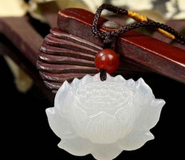 $enCountryForm.capitalKeyWord Australia - necklace Free shipping ++++100% Natural Hand-carved Chinese Hetian Jade Pendant Lotus Flower Free Necklace