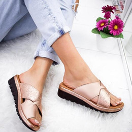 casual leather soled shoes women Australia - Women Leather Shoes Flat Sole Ladies Casual Soft Toe Foot Correction Sandal Orthopedic Bunion Corrector