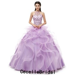 e6d76845440 2019 New Lilac Ball Gown Long Prom Dresses Halter Corset Back Beading  Ruffles Skirt Girls Teens Swwet 16 Quinceanera Dress Real Photos