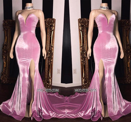 Long simpLe cheap prom dresses online shopping - Elegant Sweetheart Mermaid Prom Dresses Long High Split Sweep Train Formal Party Cheap Simple Evening Wear Gowns BC1231