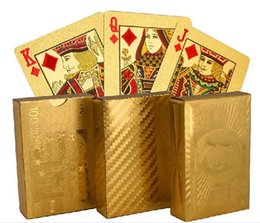 Card Euro NZ - 200pcs hot 3 designs Gold foil plated playing cards Plastic Poker US dollar   Euro Style   General style