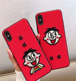 $enCountryForm.capitalKeyWord Australia - Cute embroidery Want Want iPhonex mobile phone case for iPhone6s 7plus female models iphonexs max cartoon mobile phone sets