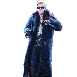 oversized collar jacket NZ - Furry Men Coats 2020 Winter Men's Luxury Long Jackets Men Fur Tops Oversized Flurry Fake Fur Turn-down Collar Coats J77
