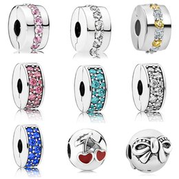 Clip Charms Free Shipping Australia - 2018 new free shipping european 1pc silver shinning path elegance spacer clip safety diy bead fit pandora charm bracelet D006