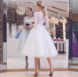 simple tea length wedding dresses sleeves NZ - Vestido De Festa New Wedding Dress Tea-length Three Quarter Sleeve Fashionable Illusion Lace Elegant Back Simple Bride Gown 2019
