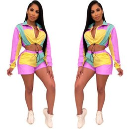 $enCountryForm.capitalKeyWord Australia - Women Girl New Casual Outfit Tracksuit Long Sleeve Cardigan Zipper Top and Short Pants Two Piece Sets Sportswear Suits Color Patchwork P678
