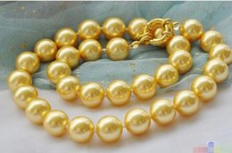 "$enCountryForm.capitalKeyWord Australia - P3835 17"" 12mm golden round SOUTH SEA SHELL PEARL NECKLACE> Wholesale Lovely Women's Wedding Jewelry"