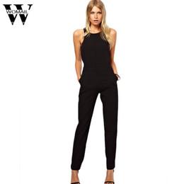 Wholesale Women Bodysuit Australia - Womail bodysuit Women Summer Casual Fashion Sexy Thin Waist Black Sleeveless High Street Backless Jumpsuit 2019 dropship M5
