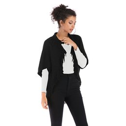 Wholesale sweater shawl scarf resale online - Womens Cape Poncho Coat Tassel Cardigan Shawl Wrap Scarf Knitwear Sweater Jumper Cardigan Cloak Jacket DHL