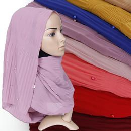 Shawl Beads Blue Australia - Pearl chiffon pleated stripe scarf crinkle hijab plain bubble chiffon scarf muslim hijab bead shawl head scarf scarves