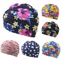 $enCountryForm.capitalKeyWord Australia - Pleated Flower Petal Prints Fabric Swimming Cap Swim Pool Beach Surfing Protect Long Hair Ears Caps Hats Plus Size for Women Men