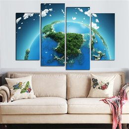 $enCountryForm.capitalKeyWord Australia - Modern 4 Panel HD Wall Pictures Green Planet Earth Posters Painting Canvas Art Printed Unique Gift Painting Decoration For Home