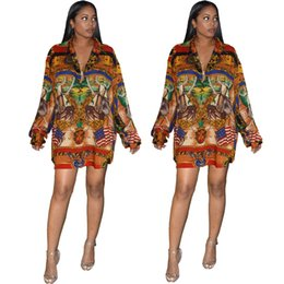 $enCountryForm.capitalKeyWord Australia - Luxury Womens Printed Dresses Fashion Long Sleeves Shirt Dress Autumn Designer Sexy Lapel Neck Dress Female Apparel