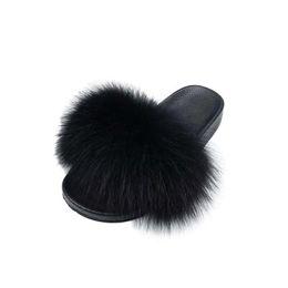 $enCountryForm.capitalKeyWord Australia - Bravalucia Fahion Real Fox Hair Autumn Winter Slippers Women Fur Home Slippers Fluffy Sliders Plush Furry Home Shoes Women modis n14