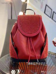Опт Красный синий женщины и мужчины shcool Sbag топ дизайнер кожи ягненка Спайк заклепки Кристалл спины красный Нижний рюкзак черный цвет ранец большой мешок