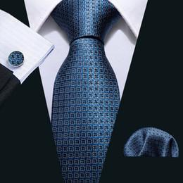 Dark Blue Suits Australia - Hi-Tie New Classic Tie Set Silk Dark Blue Plaid Silk Hankychief Cufflinks Set for Mens Business Suit N-5052