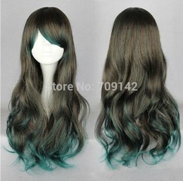 $enCountryForm.capitalKeyWord Australia - Lolita Long Brown Green Color Change Harajuku Style Curly Wig High Quality Synthetic fibre queen brazilian made hair wigs