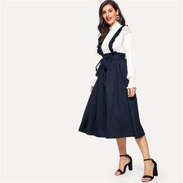 68fdced4f Navy Classy Retro High Waist Flare Belted Skirt With Frilled Strap Women  Spring Elastic Waist High Street Midi Skirt