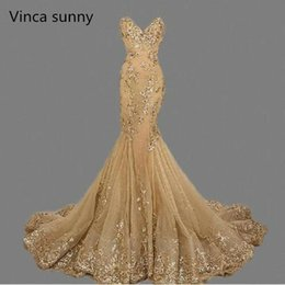 best evening gowns Australia - vestido de festa Luxury Evening Gowns Sweetheart robe de soiree Gold Sequins Mermaid Evening Dresses Long 2019 Best Selling