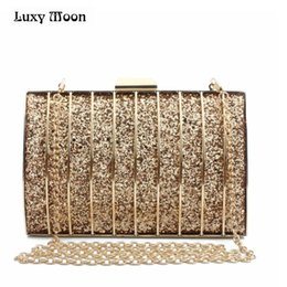 Bling Leather Purses Australia - LUXY MOON Shinny Evening Bag Fashion Gold Silver Day Clutch Black Clutches Bling Purse Mini Handbags Chain Shoulder Bag #267100