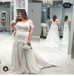 2019 A Line Applique wedding Dresses Blackless Off Shoulder Gowns Chapel Train Backless Sleeveless Plus Size Bridal Gowns