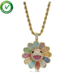 spinning diamond 2019 - Hip Hop Designer Jewelry Mens Gold Chain Pendants Diamond Necklace Iced Out CZ Sunflower Spinning Pendant Bling Luxury P