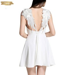 angel wing dresses Australia - Vestidos Dresses Summer De Playa Lace Angel Wings Dress Casual Slim Backless Beach Knee Length Women Spaghetti Strap Vestidos