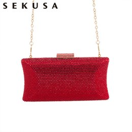 handbags for dinner Australia - SEKUSA Full diamonds women evening bags rhinestones wedding bridal handbags clutch for party dinner purse