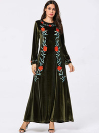long sleeve maxi dresses Australia - 2019 Floral Embroidery Retro Ethnic Maxi Dress Women Long Sleeve A-Line Winter Black Velvet Dress Blue Green Casual Dress Plus Size