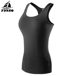 Free Running Clothing UK - FDBRO Women Sport Vest Tight Quick Dry Sleeveless Clothes Female Solid Training Vest For Gym Sports Yoga Run Dance Exercise Free Shipping