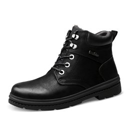 martin lights UK - New Men Boots Winter Genuine Leather Snow Martin Shoes Waterproof Male Outdoor Warm Ankle Boots With Fur Plus Size 46 47