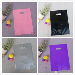 Plain Clothes Australia - 100pcs 25*35cm Pure Plain Color Plastic Bags , Thick Shopping Clothes Packaging Plastic Gift Bags Solid colors