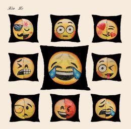 e3e21ad5f4ca BeddingOutlet Emoji Cushion Cover Reversible DIY Sequin Mermaid Pillow Case  Funny Changing Smiley Faces Decorative Pillowcase