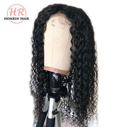 China Honrin Hair Deep Curly 13x6 Deep Part Lace Front Wig Brazilian Virgin Human Hair Full Lace Wig Curly Pre Plucked Hairline Bleached Knots cheap human hair lace front deep part suppliers