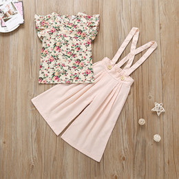 Floral Boutique Clothing NZ - Girls Floral Vest+Suspender Pants Outfits Summer 19 Kids Boutique Clothing Korean 1-4T Little Girls Sleeveless Tops and Pants 2 PC Set