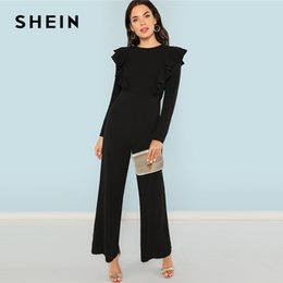 d91a6d6592a9 SHEIN Black Round Neck Plain Jumpsuit Elegant Mid Waist Wide Leg Maxi Jumpsuits  Women Autumn Ruffle Trim Palazzo