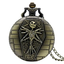 $enCountryForm.capitalKeyWord UK - The Nightmare Before Christmas Pocket Watch Bronze Jack with Coffin Carving Slim Chain Cartoon Fans Clock Unique Halloween Gifts