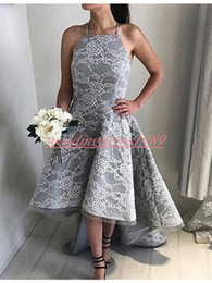 grey african lace 2019 - Modest High Low Lace Arabic Homecoming Dresses Grey 2019 Halter Sleeveless African Short Prom Dress Cocktail Graduation