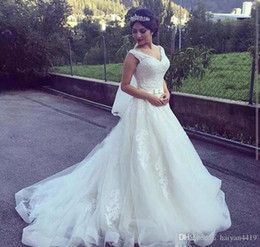 Simple Lace Wedding Dress V Neck NZ - Simple Cheap Plus Size A Line Wedding Dresses V Neck Sleeveless Lace Appliques Sashes Bow Zipper Back Sweep Train Formal Bridal Gowns