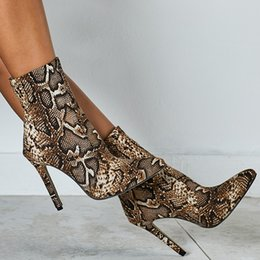 sexy woman snake print 2019 - Autumn winter high heels women shoes sexy snake print ankle boots stiletto pointed toe punk martin boots botas mujer big