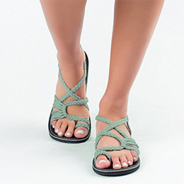Sandals Femme Australia - Women Sandals Plus Size 35-43 Comfortable Summer Shoes Woman Rome Style Beach Shoes Female Flat Sandals Ladies Chaussures Femme