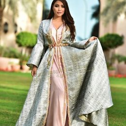 model abaya muslim NZ - Gold Luxury Arabic Evening Formal Dresses 2020 Evening Gowns Long Sleeve Muslim Dress Evening Wear Middle East Dubai Abaya Kaftan Kleider