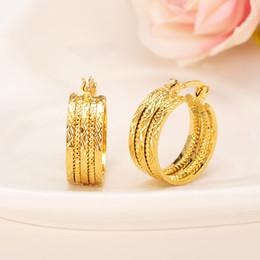 wedding hoop earings 2019 - Hoop Earrings Bangrui New Design Hoop Earrings 22K Yellow Gold Color Twisted Earings For Women Girls Romantic Jewelry We