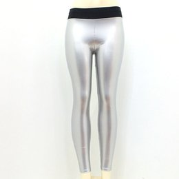 Leggings Shine UK - Leggings Yoga Pants Hot Artificial Leather Smooth Shine Surface Fitness Jogging Gym Seamless leggings Sport Pants 2019 New #719816