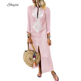 0bb00a83e8d SHUJIN Women Dress Cotton Linen 2019 Long Sleeve Sexy Deep V Neck Split Dresses  Plus Size Fashion Boho Print Party Dress